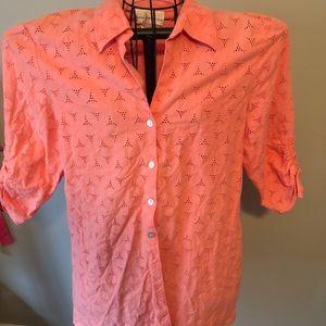 Susan Graver eyelet button down shirt